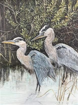 Signed Blue Heron Birds Oil On Board
