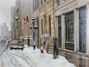 Andris Leimanis Oil On Cavas Winter Street Scene