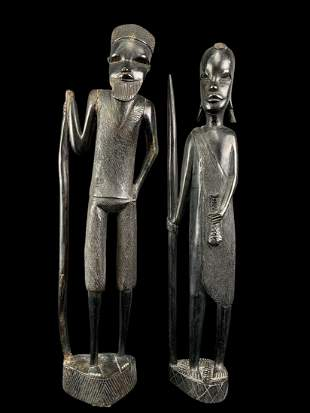Lot Of 2 Carved African Ebony Tribal Figures