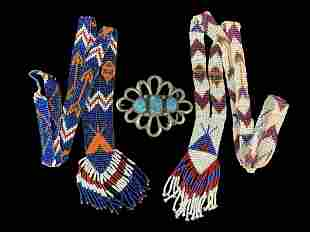 Lot Native American Beaded Necklaces Silver Buckle
