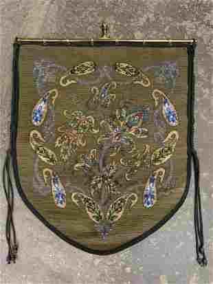 Antique Beaded Heraldic Armorial Tapestry Shield