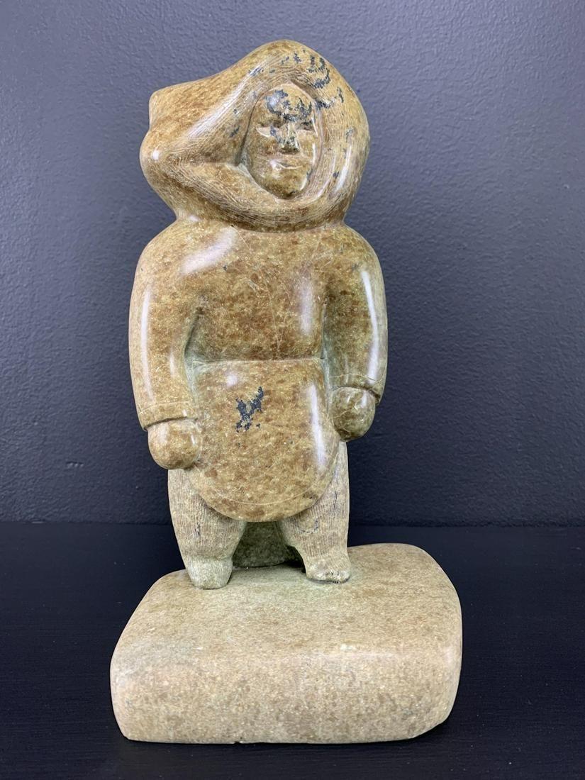 Inuit Soapstone Figure by Ningiugapik Kolola