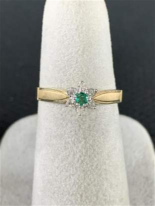 14 K Gold Diamond And Emerald Ring, Size 6