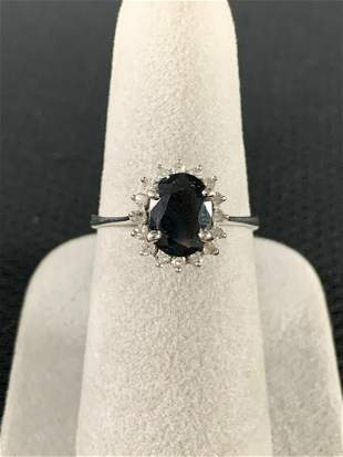 14 K Gold Sapphire And Diamond Ring, Size 6.5