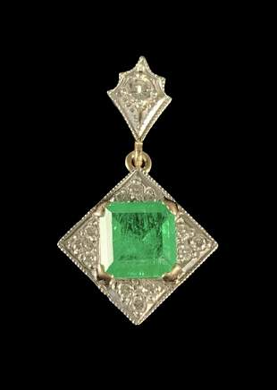 14 K Gold, Diamond Emerald Art Deco Style Pendant
