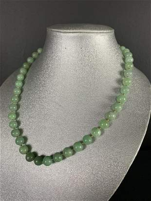 Chinese Jadeite Jade Necklace With Silver Clasp