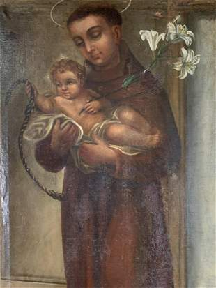 Spanish Colonial 18th C. Oil St Anthony & Christ