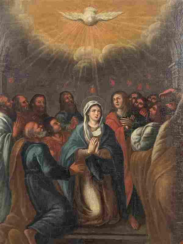 Spanish Colonial 18th C. Oil On Canvas Virgin Mary