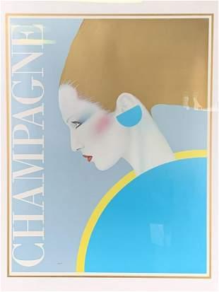 1981 Champagne Ad Lithograph By Gerard Razzia