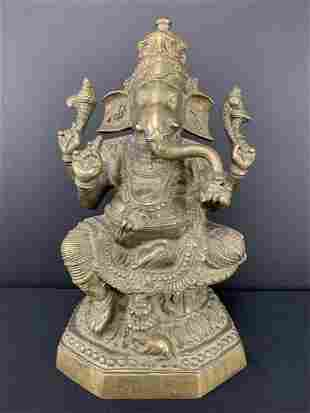 Indian Bronze Seated Ganesh