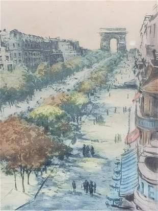 Marcel Julien Baron, Parisian Street Scene Etching