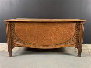 Arts & Crafts Carved Oak Blanket Chest Cedar Lined