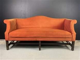Georgian Style Camel Back Sofa Burnt Orange Velvet