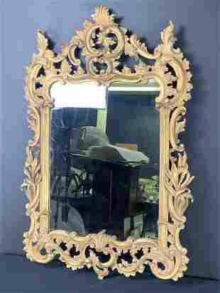 Vintage Gilt Carved Wood Florentine Mirror