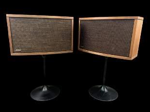 Pair Vintage 1970s Bose Speakers Tulip Bases