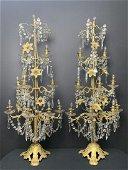 Pair Ecclesiastical Electric Crystal Candelabras
