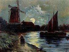 J. Schyredens Dutch Oil On Board, Night Landscape