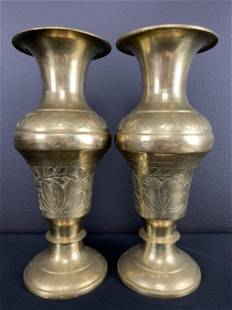 Pair Antique Indian Incised Floral Brass Vases