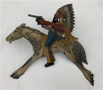 1920s Distler Animated Indian On Horse Tin Toy