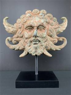 Cast Bronze Face Of A Man, Winged Head