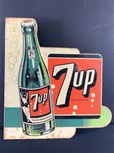 Rare Vintage 7up Bottle Flange Sign, Double Sided