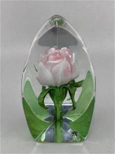 Mats Jonasson Sweden Art Glass Rose Paperweight