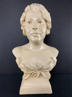 Art Nouveau Plaster Bust Of A Woman Signed