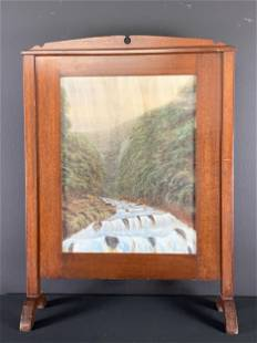 Arts And Crafts Painted Landscape Fire Screen
