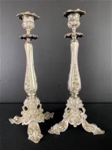Pair Silver Plated Art Nouveau Tripod Candlesticks