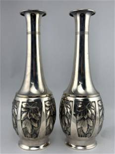 Pair Art Nouveau Secessionist Leaf Berry Vases