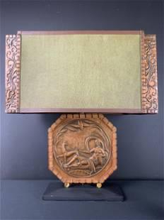 1930s Art Deco Wood And Copper Albert Gilles Lamp