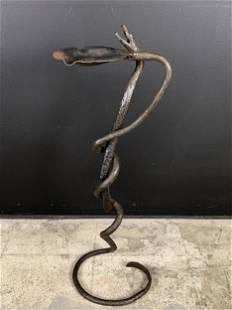 Arts Crafts Folk Wrought Iron Snakes Floor Ashtray