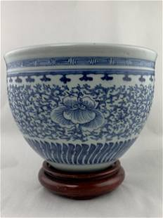 Large Chinese Blue And White Planter Pot