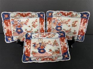 Lot Of 3 Chinese Imari Trays Bowls