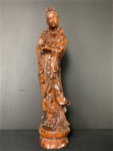 Large Chinese Hardwood Carved Guanyin Statue
