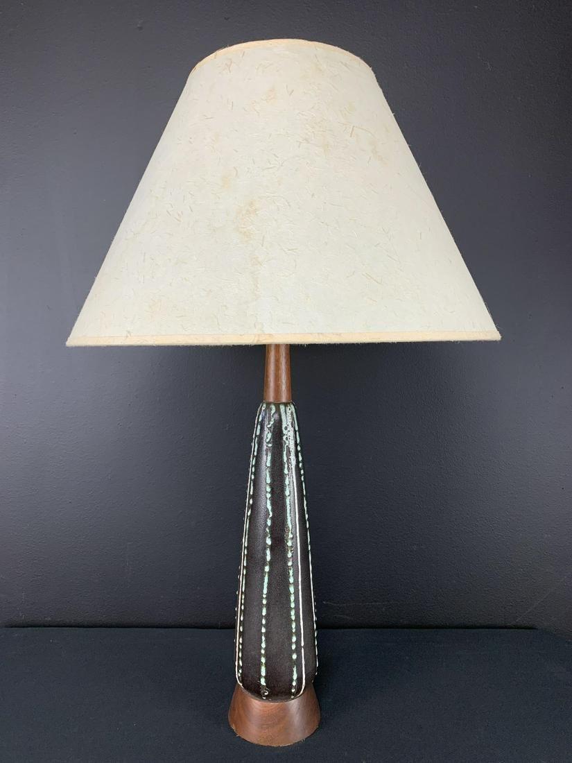Mcm Tall Fat Lava Ceramic Teak Base Table Lamp