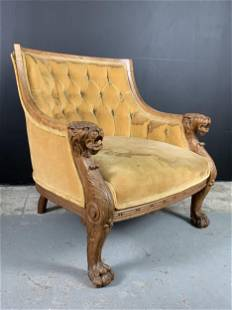 19th C Empire Chair Oak Carved Lion Heads