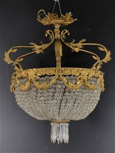French Basket Crystal Ceiling Fixture Chandelier