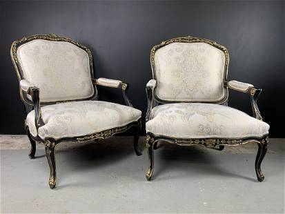 Pair Oversized Century Furniture French Armchairs