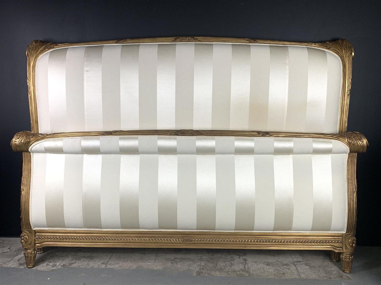 King Sized Carved Gilt Wood Upholstered Bed