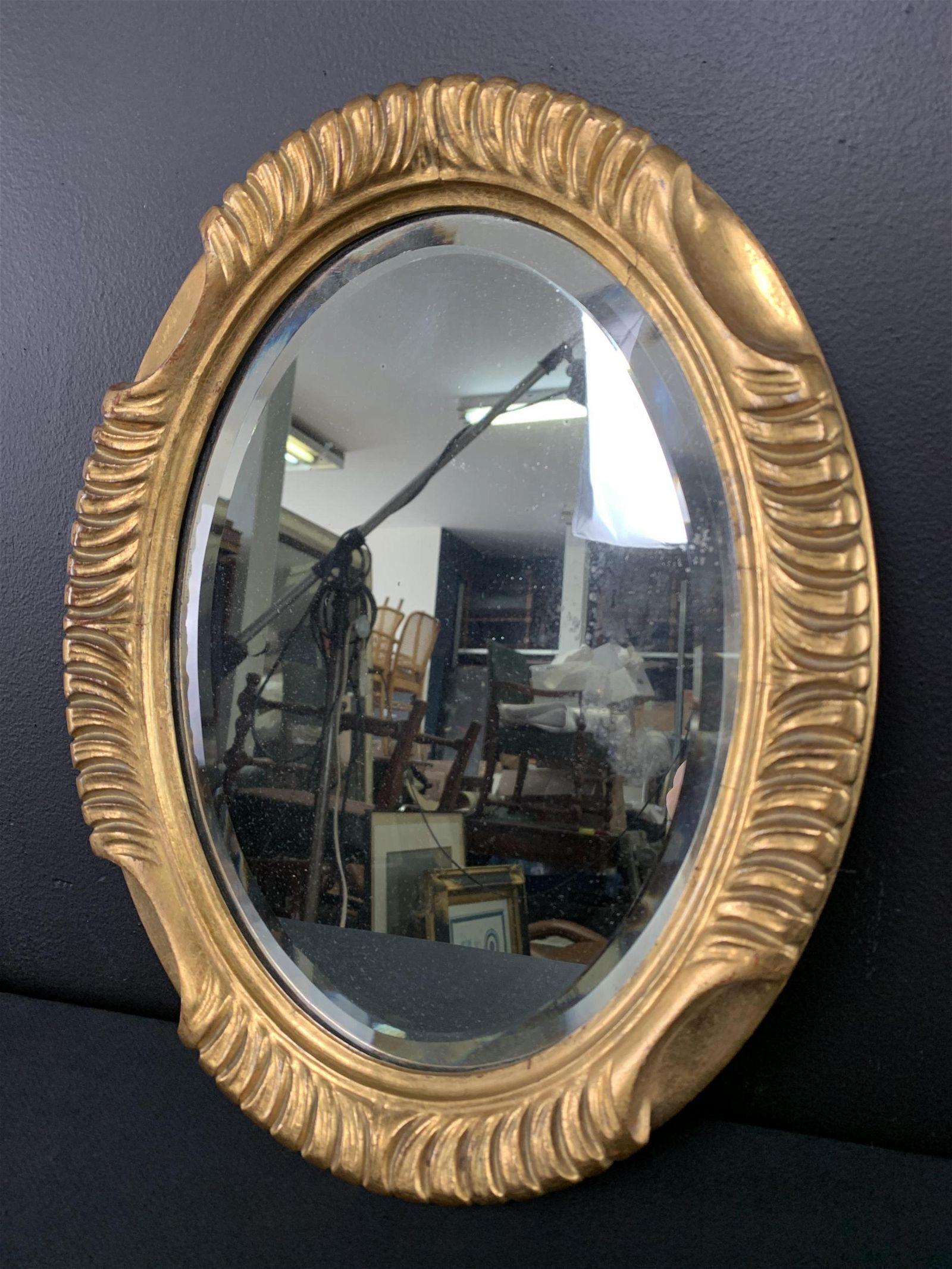 Oval Carved Gilt Wood Mirror, Beveled Edge