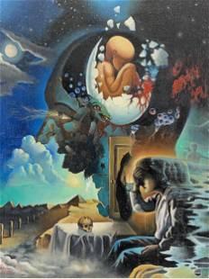Jacques Pepin Oil on Canvas Surreal Dreamscape