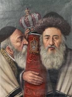 Konstanty Szewczenko Oil On Canvas, Two Rabbis