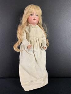 German Bisque Porcelain Doll, Sleep Eyes
