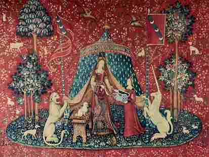 Vintage Museum Replica Lady And Unicorn Wall Hanging