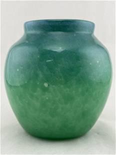 Monart Art Glass Vase C. 1940s, Blue-Green