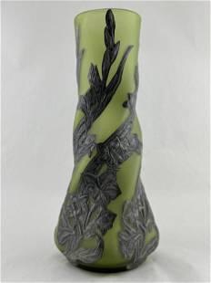 Art Nouveau Vase, Pewter Floral Appliques