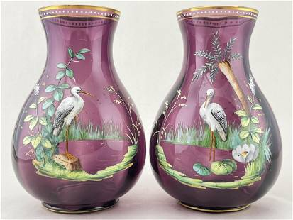 Pair 19th C Painted Amethyst Glass Vases, Cranes