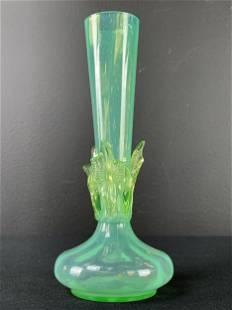 Victorian Green Uranium Glass Vase, Thomas Webb