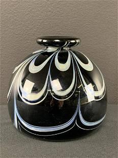 Small Art Glass Bud Vase, Signed Graff